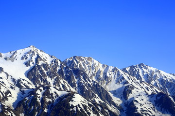 雪が残る北アルプス山脈