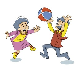 Grandparents Play Ball