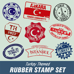 Turkey themed rubber stamp set