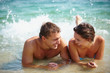 Couple splashing