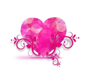 Pink heart with floral ornaments