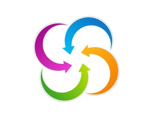 logo cloud abstract arrow symbol center business icon