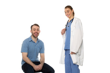 Male Patient and Female Doctor Smiling
