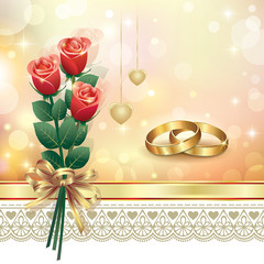 romantic card with roses on wedding day
