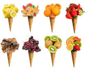 Cono gelato set frutta