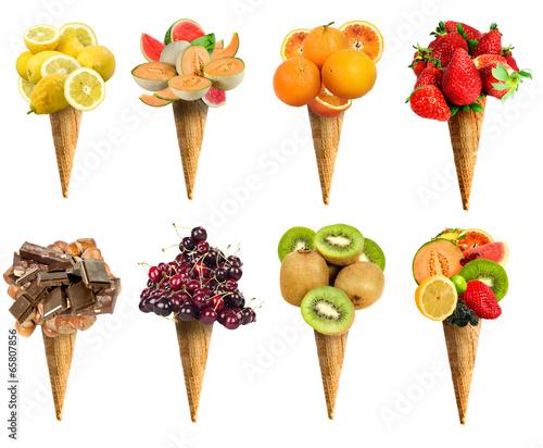 Cono gelato set frutta - 65807856
