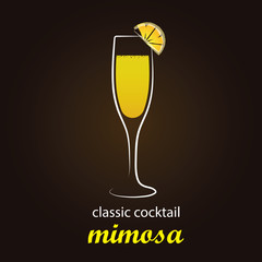 Mimosa Cocktail in authentic Flute glass