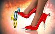 Leinwandbild Motiv Waffen einer Frau, rote Heels mit Sexsymbol, männlich