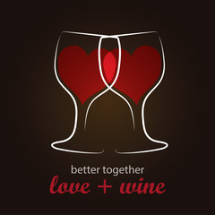 Heart shape Red Wine in Wine Glass