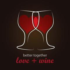 Heart shape Red Wine in Wine Glass