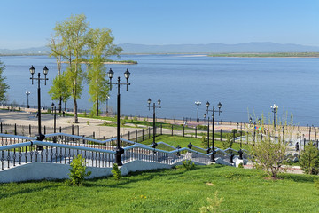 Amur River and the stairs to the embankment in Khabarovsk
