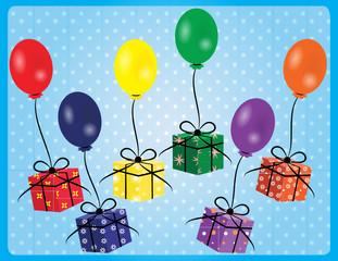 Geschenke an Luftballons