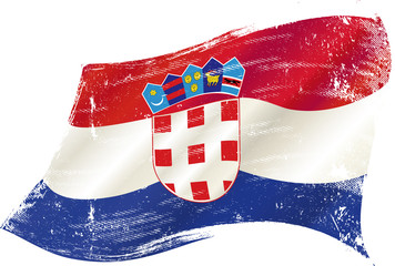 waving croatian grunge flag