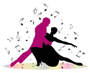 ballerini di tango e note musicali