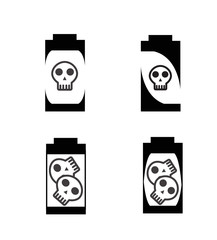 Vector of silhouette battery with skull icon
