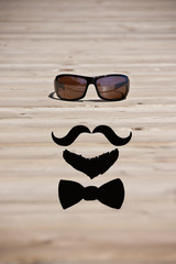 hipster glasses with mustache and beard