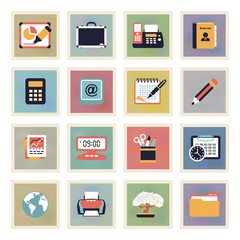 Business modern color icons.