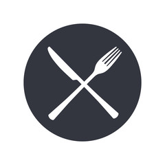 Crossed fork and knife emblem