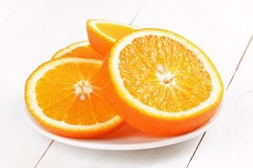 Orange slices on white plate