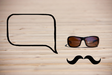 hipster glasses with mustache and callout