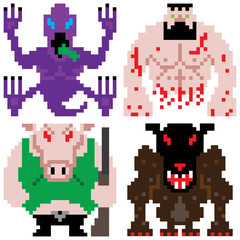 worse terror horror monster retro computer eight bit pixel art