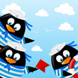 Cute penguin sailors on sea background