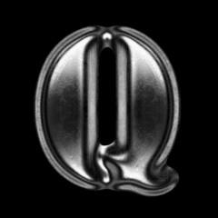 metal figure on black background