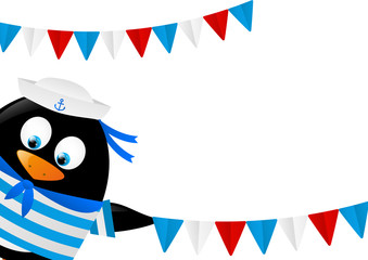Cute penguin sailor with flags