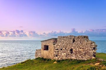 ruins of bunker near sea