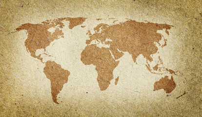 Vintage world map. Old paper texture background