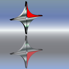 Metallkreuz 3d rot