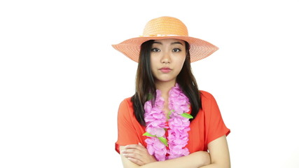 asian girl orange sundress isolated on white angry arms crossed