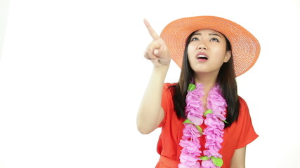 asian girl orange sundress isolated on white pointing and angry