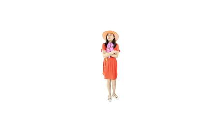 asian girl orange sundress isolated on white worried upset