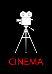 Movie camera on black background