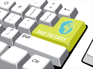 Social media concept: Enter button with save the earth on comput