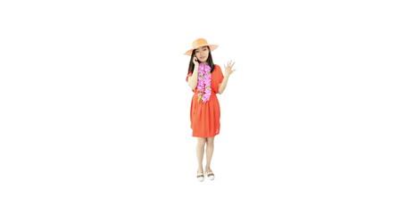 asian girl orange sundress isolated on white talking phone