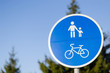 bicycle and pedestrian lane road sign in blue