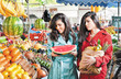 market fruits shopping friends