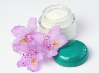 Face and body cream & flower rhododendron