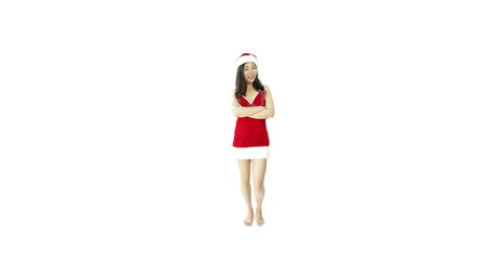 sexy santa claus isolated on white waving