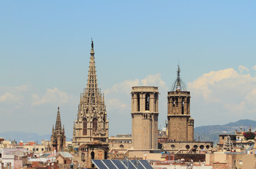 Gothic spikes and towers of temples. Barcelona, Spain