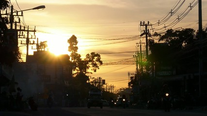 Sunset Car Traffic in Thailand. High-Speed Filming.