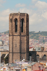 Belltower of cathedral of Santa-Maria-del-Pi. Barcelona, Spain