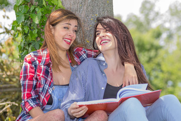 friends studying in the nature
