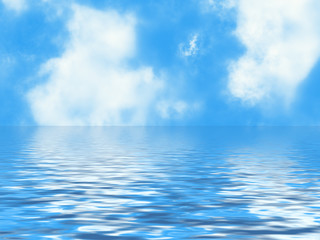 clouds skyline in a blur water foregrounds