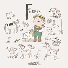 Alphabet Profession. Letter F - Farmer