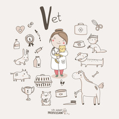 Cute vector alphabet Profession. Letter V - Vet