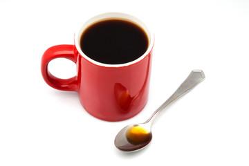 taza roja de cafe
