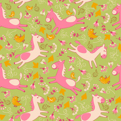 vector pattern with pink horses
